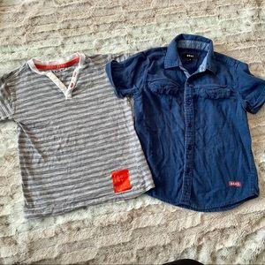 DKNY T-shirts Boys Size 6 Button Down Striped